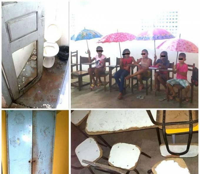 TURILÂNDIA/MA – Que vergonha Alberto Magno! Alunos assistem aula usando guarda-chuvas em escola
