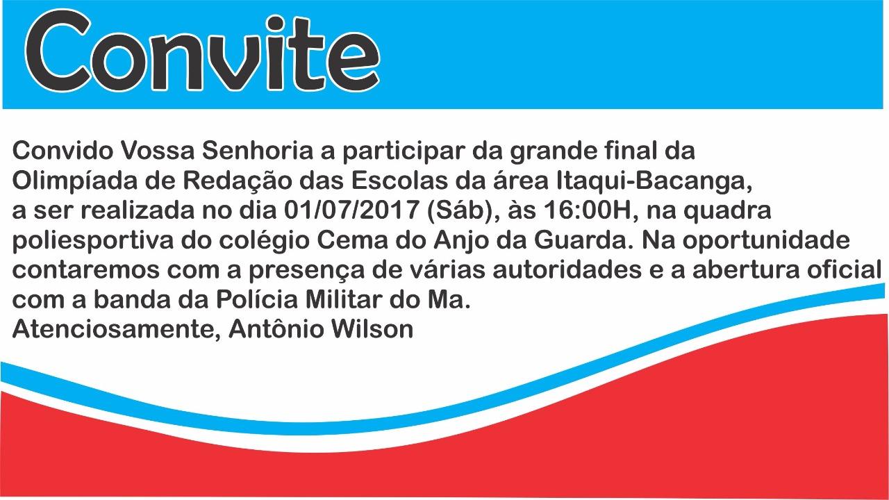 """SÃO LUÍS/MA – Área Itaqui-Bacanga """"É AMANHÃ SÁBADO"""" 2ª Olimpíada de redação das Escolas"""