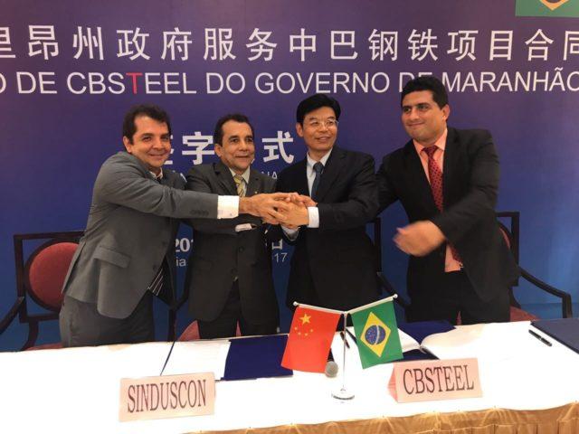 BACABEIRA/MA – Hilton e Fernanda Gonçalo participam de assinatura de convênio com empresa chinesa para construção de siderúrgica