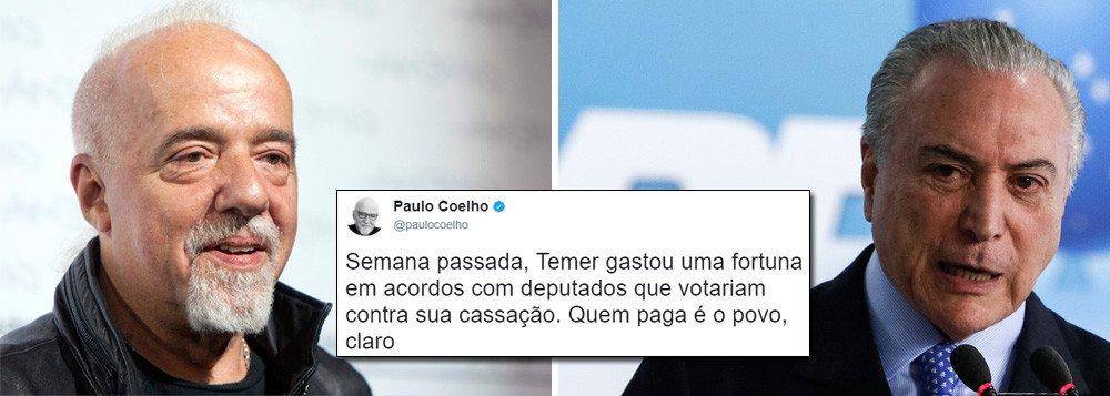 PAULO COELHO: POVO PAGA COMPRA DE DEPUTADOS COM IMPOSTO NA GASOLINA