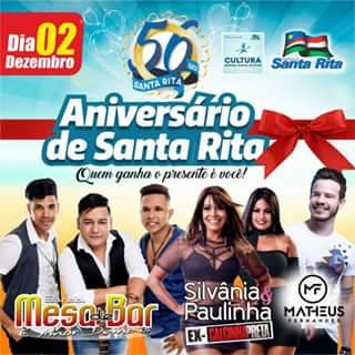 Prefeitura de Santa Rita divulga programação em comemoração aos 56 da cidade!
