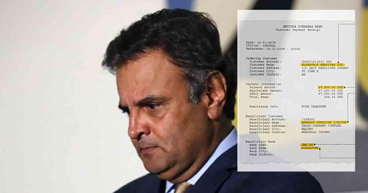 Odebrecht e Andrade Gutierrez mostram recibos de propina milionária a Aécio