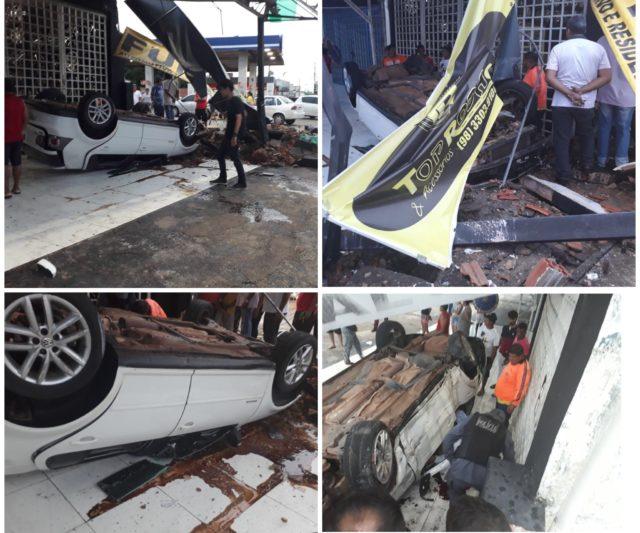 Policial da PMMA capota carro na Curva do 90 e é levado em estado grave para o Socorrão; confira o vídeo