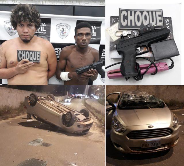 Maranhão – Bandidos roubam carro, sequestram e espancam casal, capotam e são presos