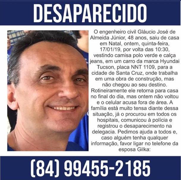 Engenheiro civil desapareceu no RN e carro foi visto no Piauí