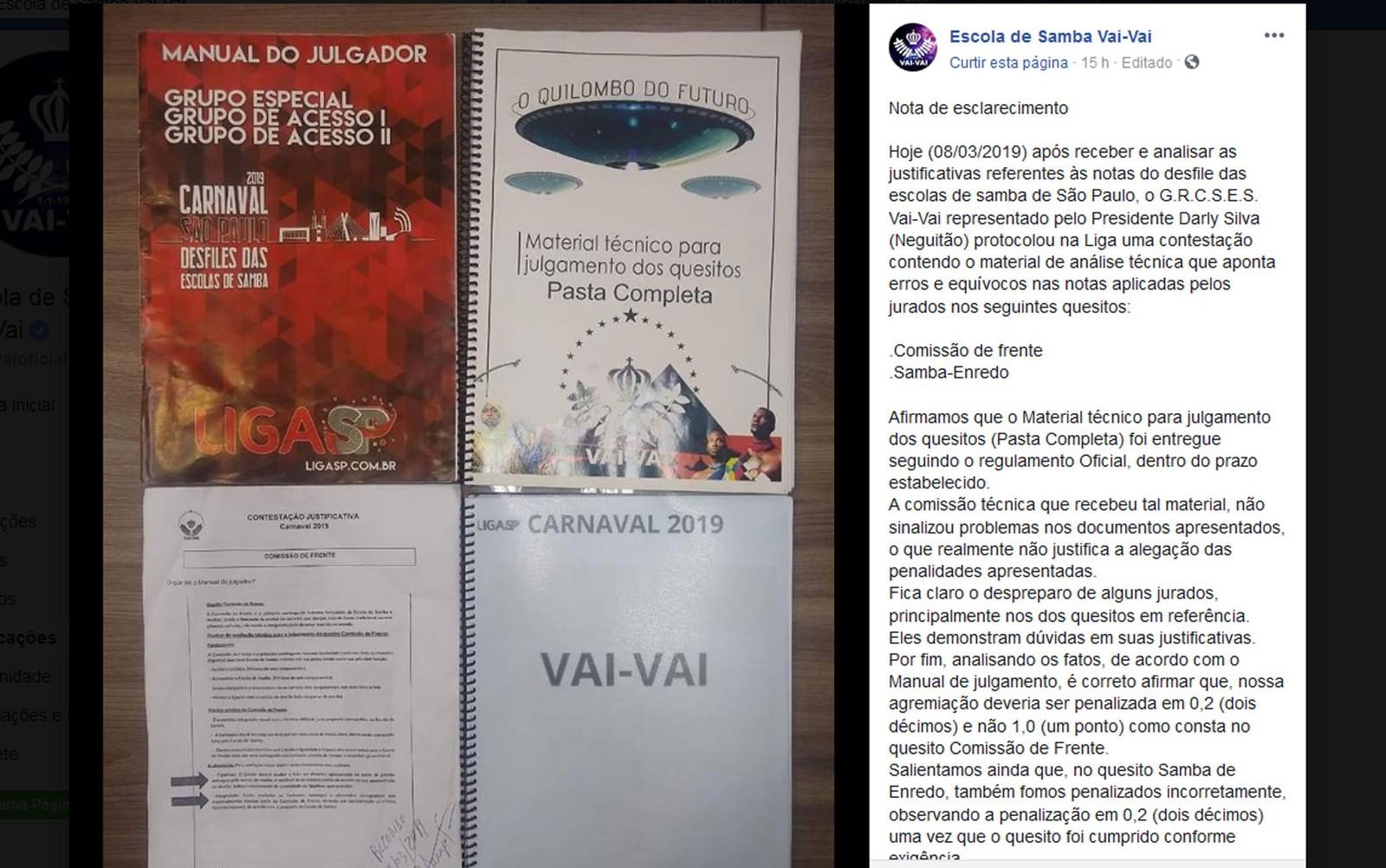Vai-Vai contesta em recurso à Liga SP as notas que rebaixaram escola no carnaval de São Paulo