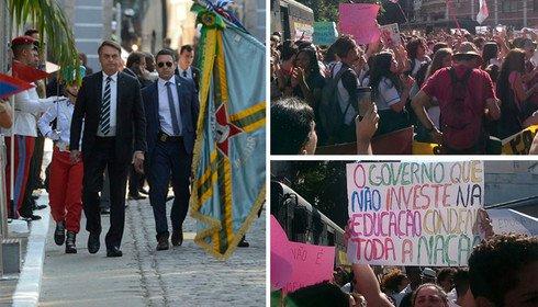 Polícia do Exército protege Bolsonaro de protesto de pais, alunos e professores