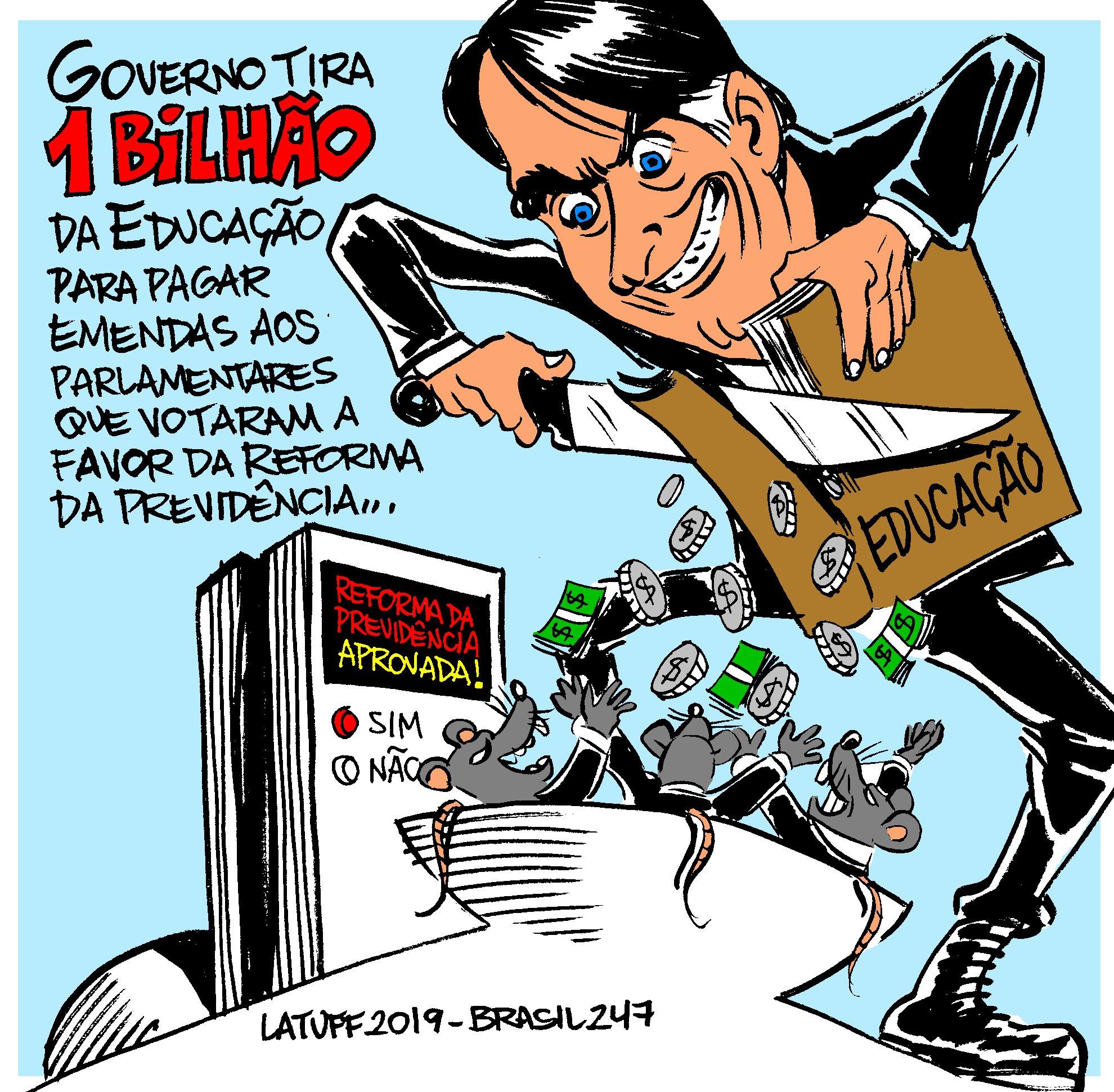 Imagem do Dia – Bolsonaro ataca Educação para pagar deputados