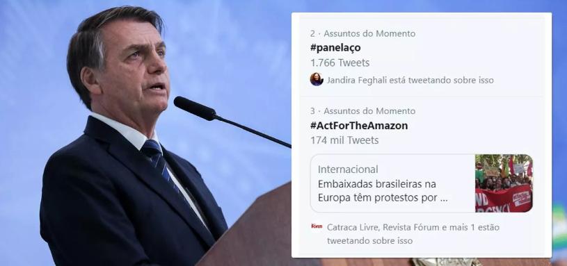 Bolsonaro fará pronunciamento sobre Amazônia e internautas preparam panelaço