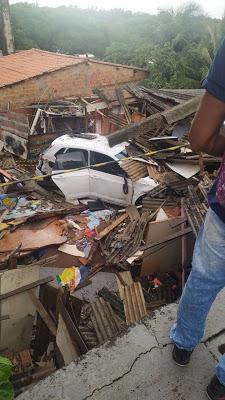 São Luis/MA – Carro cai da ponte Bandeira Tribuzzi e destrói casa. 4 pessoas dormiam no imóvel no momento do acidente