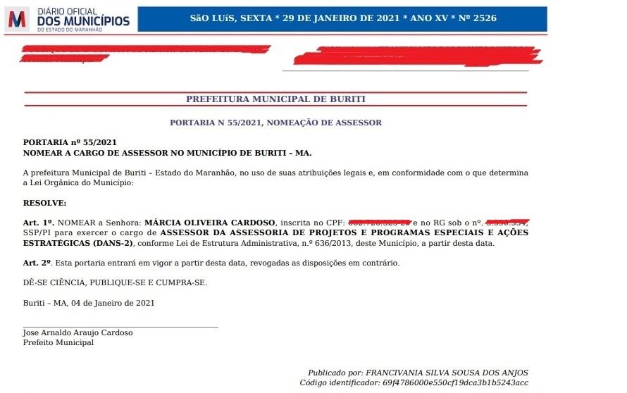 BURITI/MA – PREFEITO NOMEIA OCUPANTE DA ASSESSORIA DE PROJETOS E PROGRAMAS ESPECIAIS E AÇÕES ESTRATÉGICAS DO MUNICÍPIO